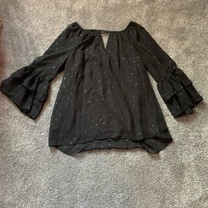 Black Blouse with Sleeve Layered Detail Size L